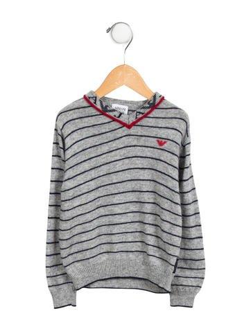 Armani Junior Boys' Striped V-Neck Sweater None