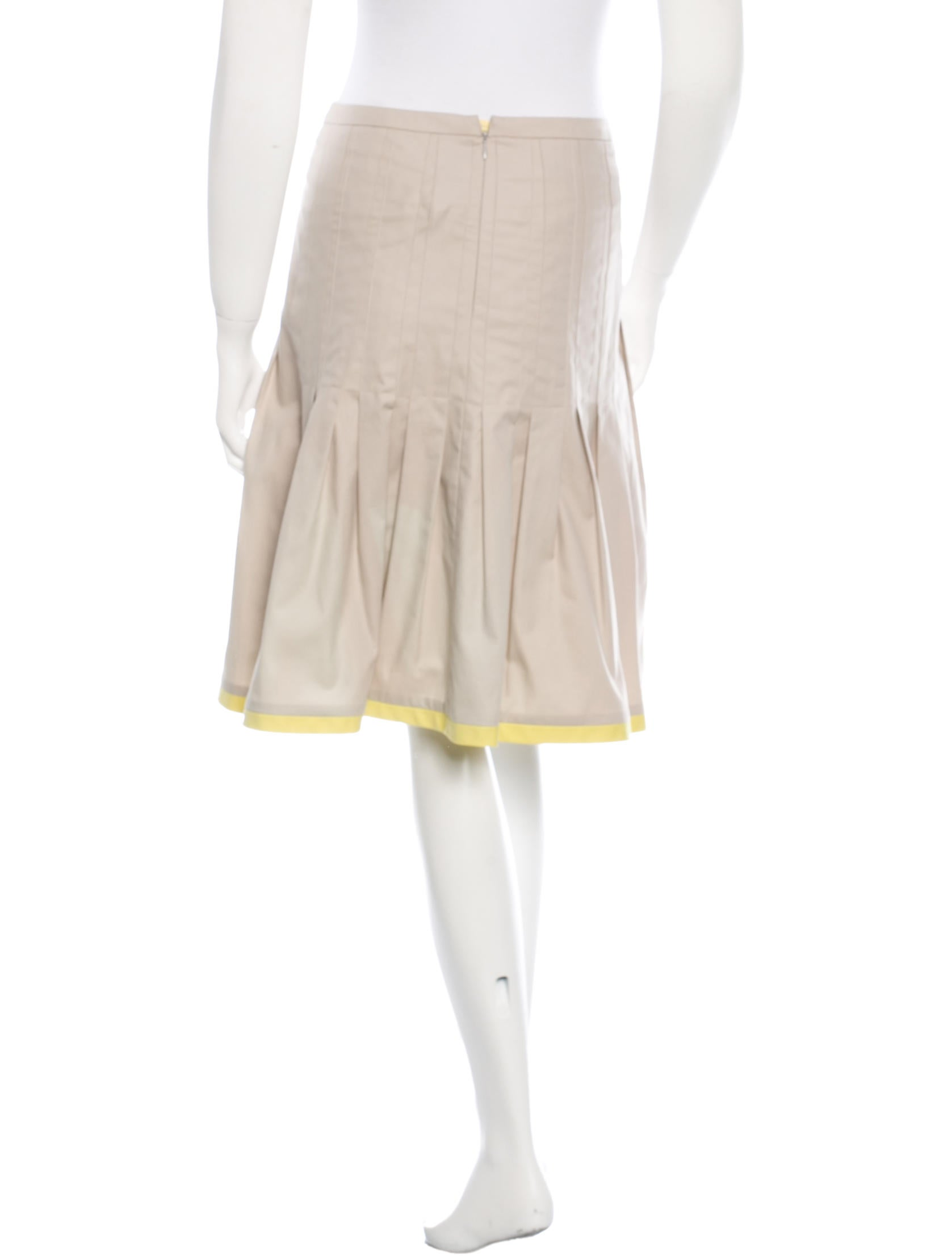 akris punto pleated knee length skirt clothing