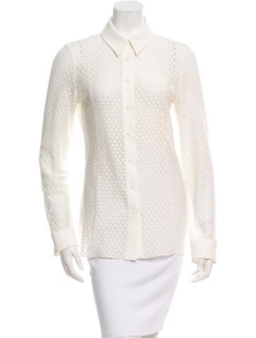 Akris Punto Open Knit Button-Up Top None