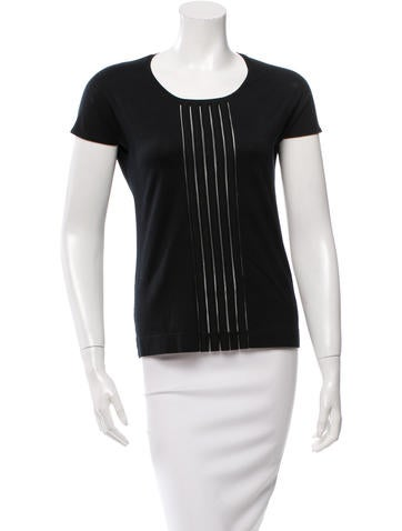 Akris Punto Scoop Neck Mesh Panel Top