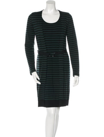 Akris Punto Striped Wool Dress None