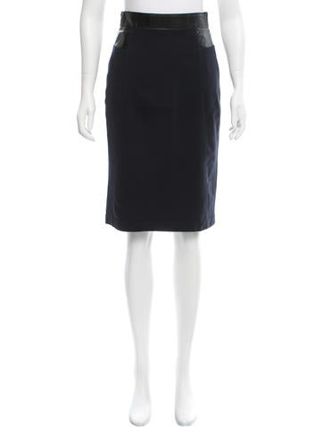 Akris Punto Vegan Leather-Trimmed Pencil Skirt