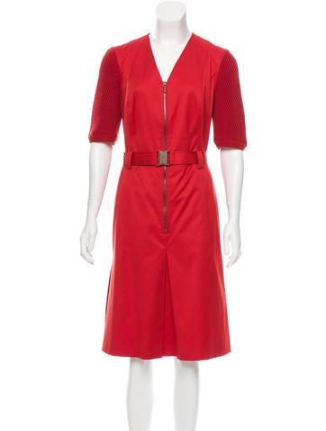 Akris Punto Rib Knit-Accented Midi Dress None