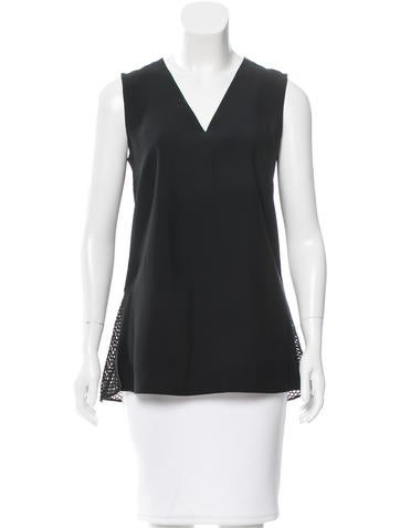 Akris Punto Mesh-Trimmed Sleeveless Top w/ Tags None