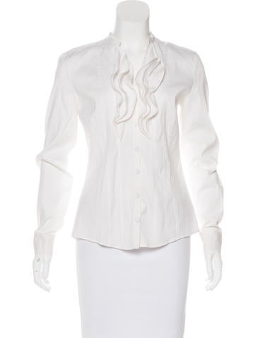 Akris Punto Ruffle-Trimmed Button-Up Top None