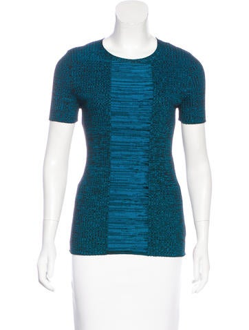 Akris Punto Wool-Blend Short Sleeve Top None