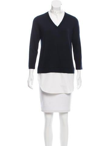 Akris Punto Poplin-Trimmed Wool Sweater None