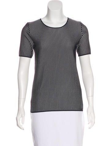 Akris Punto Striped Short Sleeve Top None