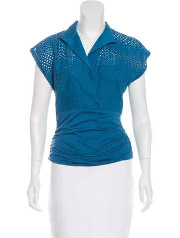Akris Punto Perforated Short Sleeve Top None
