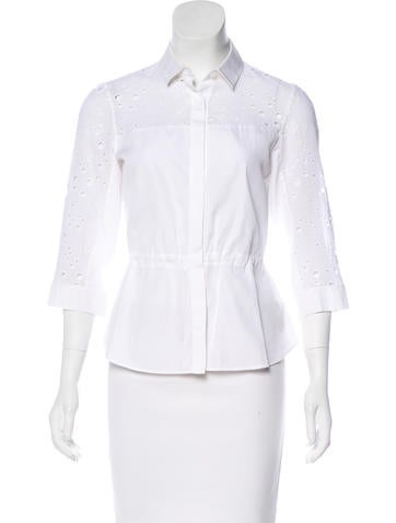 Akris Punto Eyelet Button-Up Top None