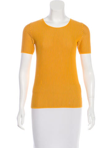 Akris Punto Short Sleeve Rib Knit Top None