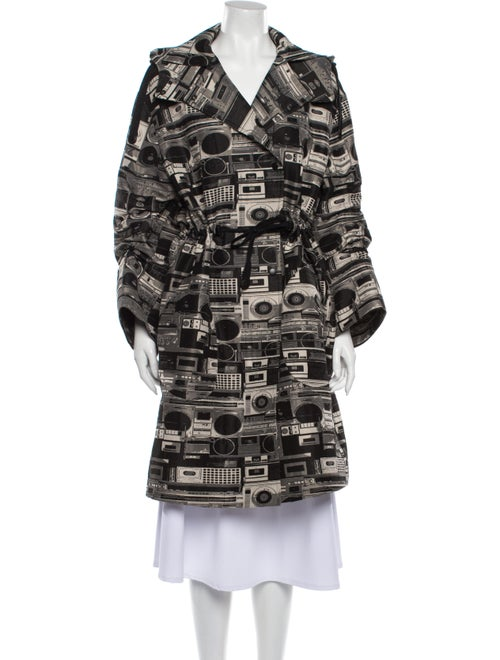 Akris Punto Printed Trench Coat w/ Tags Black