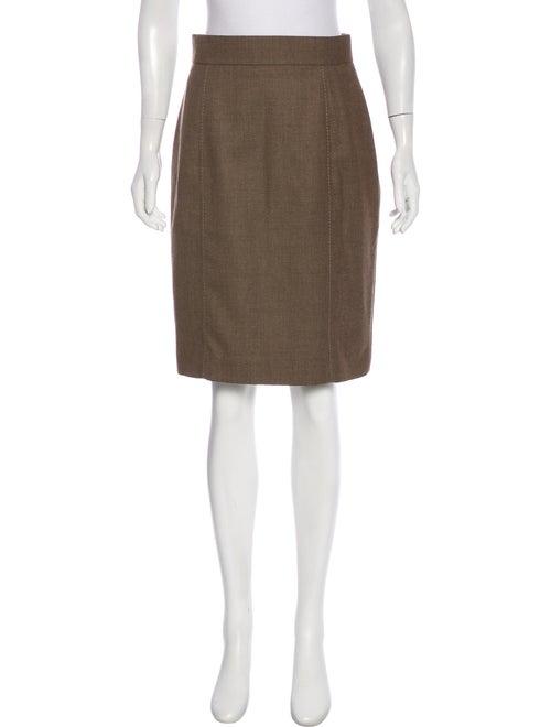 Akris Punto Wool Pencil Skirt Brown
