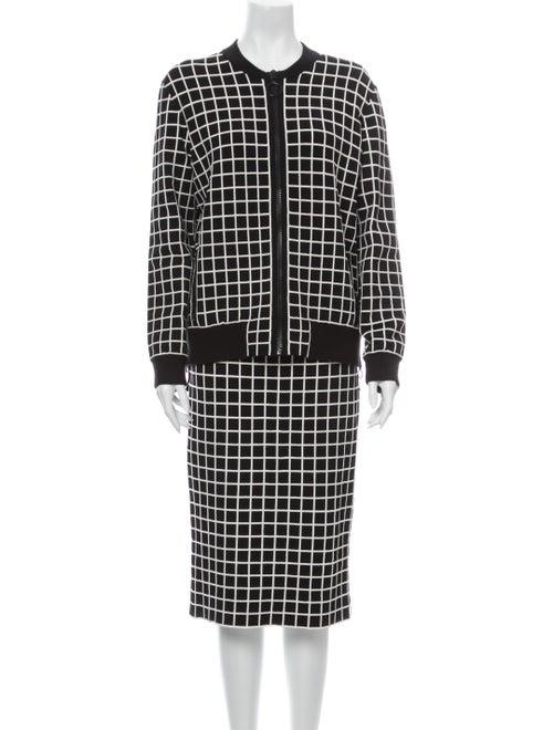 Akris Punto Plaid Print Skirt Set Black