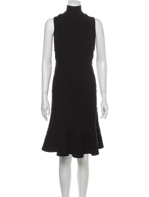 Akris Punto Turtleneck Midi Length Dress Black