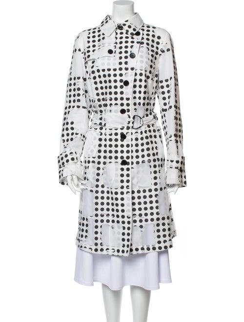 Akris Punto Polka Dot Print Trench Coat White