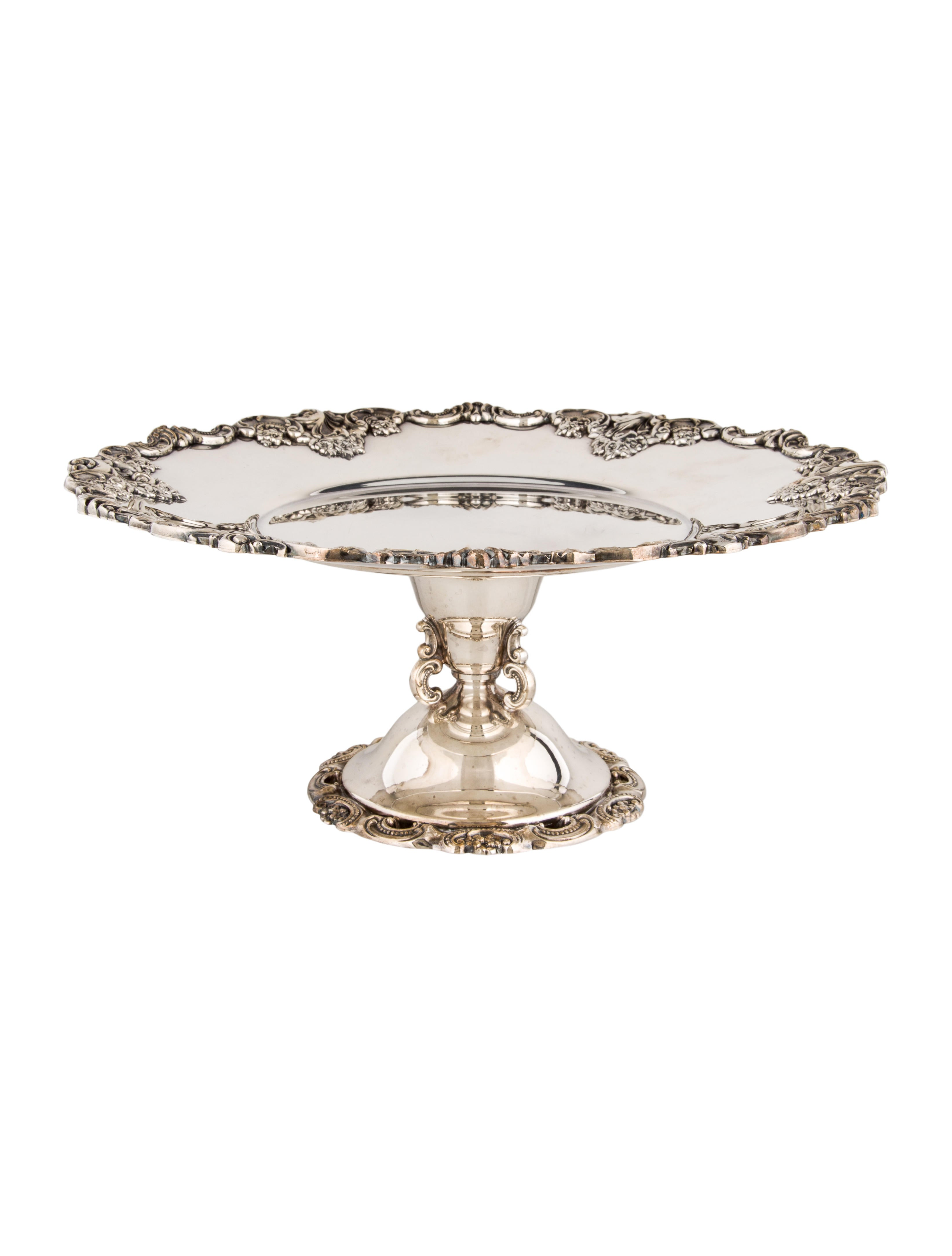 Wallace Baroque Silverplate Cake Stand Tabletop And Kitchen