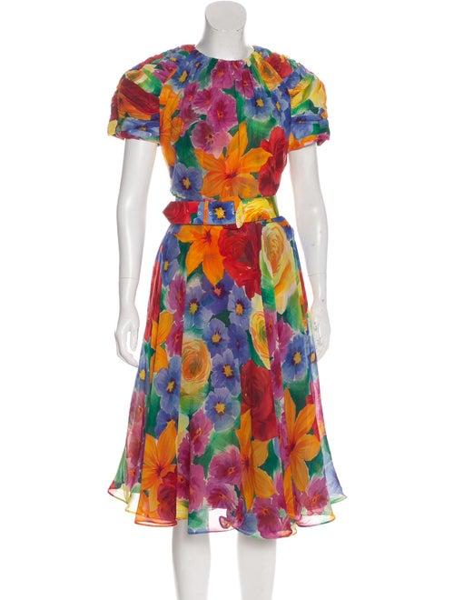 Albert Nipon Silk Printed Dress Blue