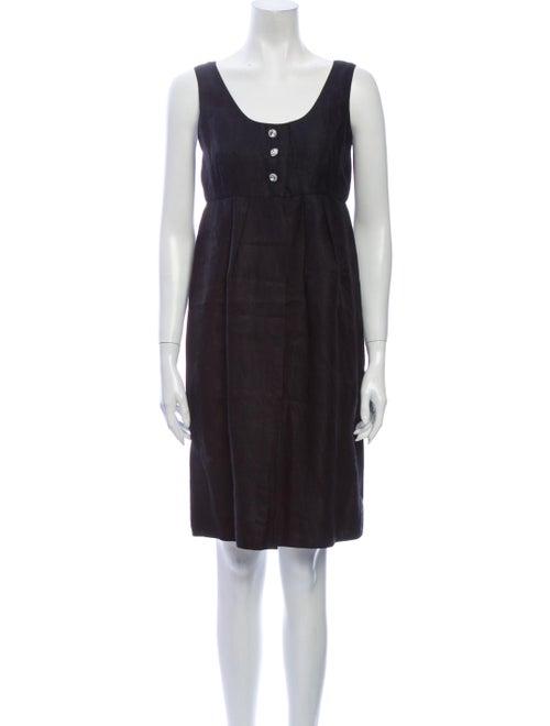 Albert Nipon Linen Knee-Length Dress Black