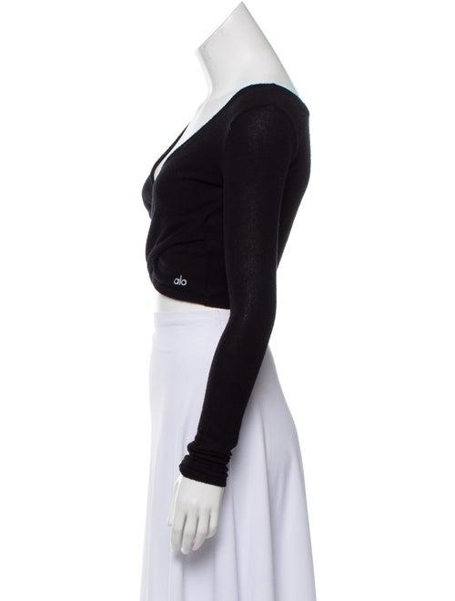 Plunge Neckline Long Sleeve Crop Top