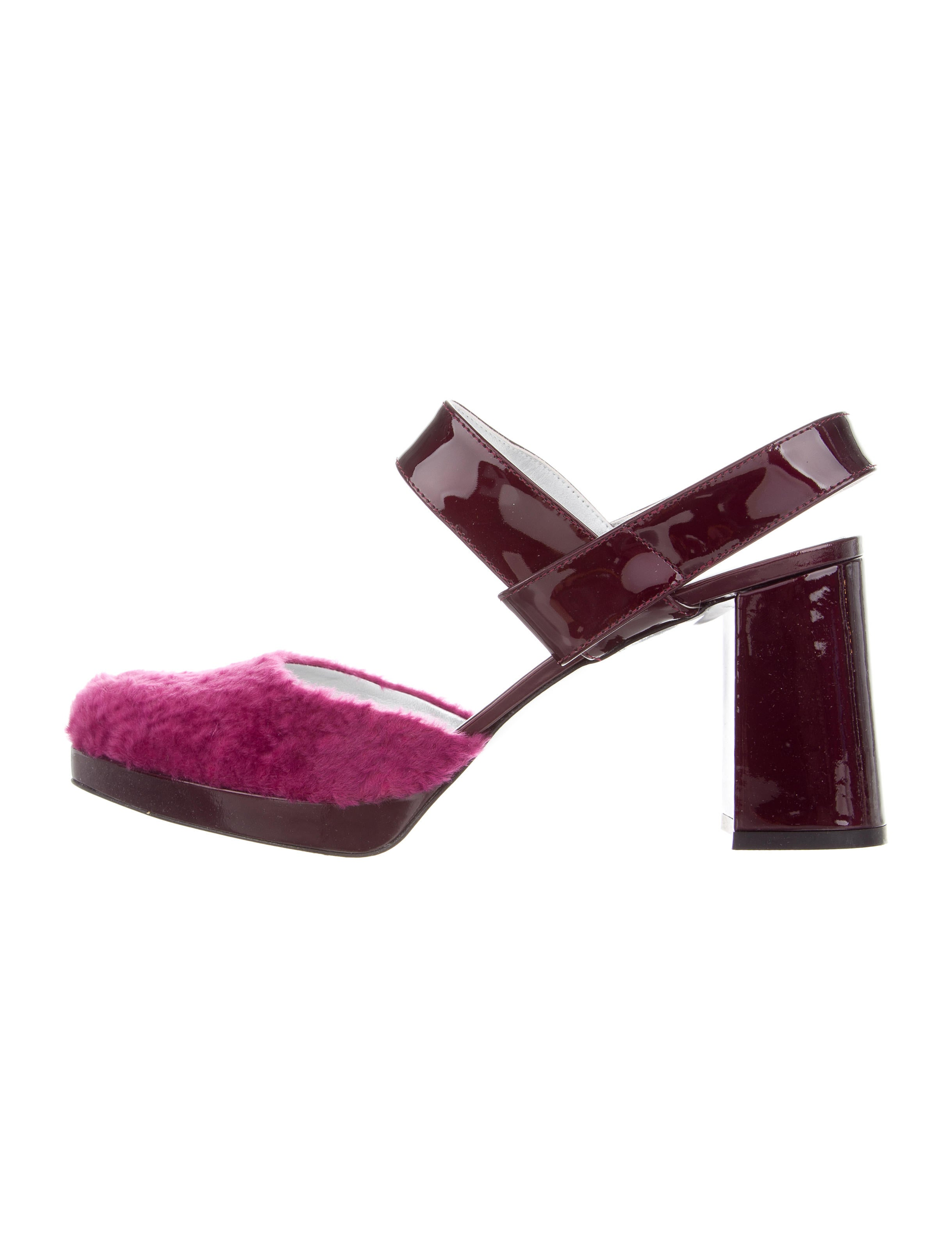 Amélie Pichard Shearling-Trimmed Slingback Pumps w/ Tags websites outlet really free shipping 100% guaranteed clearance get authentic countdown package cheap online QKHhAwp
