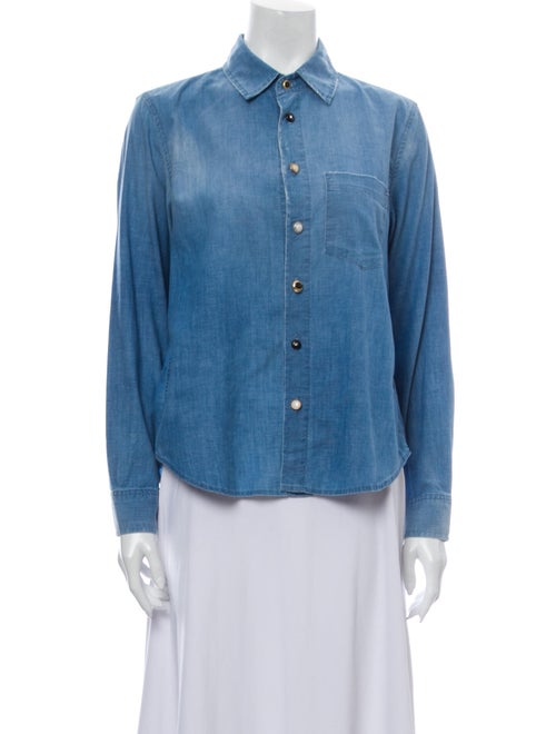 AMO Long Sleeve Button-Up Top Blue
