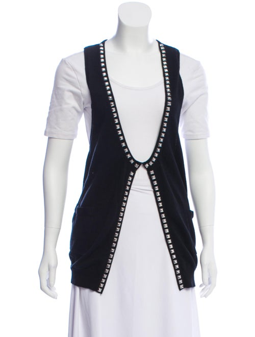 American Retro Studded Sleeveless Cardigan Black