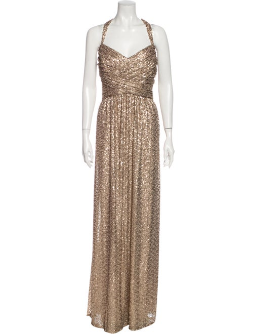 Amsale Halterneck Long Dress w/ Tags Metallic