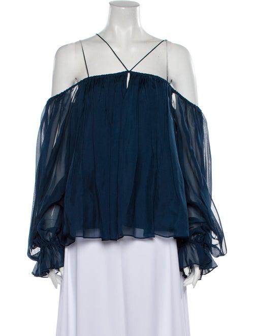 Amur Silk Off-The-Shoulder Blouse Blue