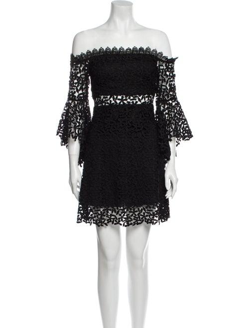 Amur Lace Pattern Mini Dress Black