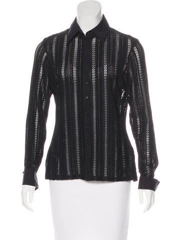 Ann Fontaine Open Knit Button-Up Top None