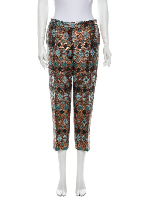 Anna Sammarone Printed Straight Leg Pants Blue