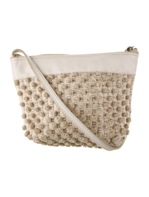 Antonello Leather-Trimmed Crossbody Bag Silver