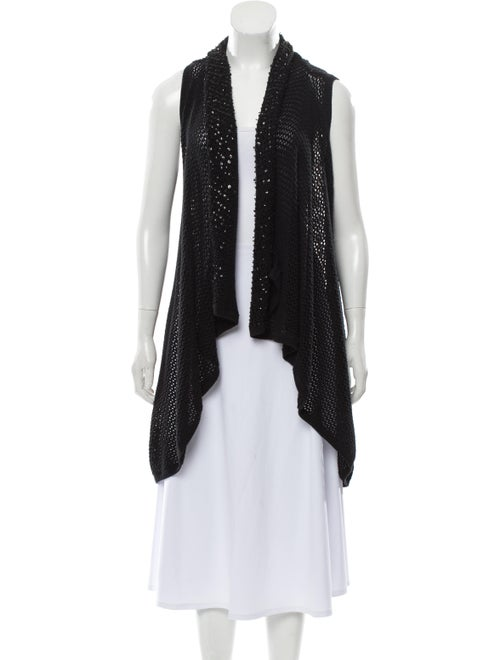 Alice + Olivia Sleeveless Knit Cardigan Black