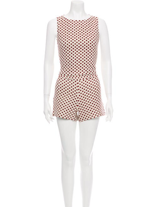 Alice + Olivia Polka Dot Print Pant Set White