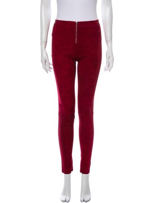 Alice + Olivia Lamb Leather Skinny Leg Pants Red