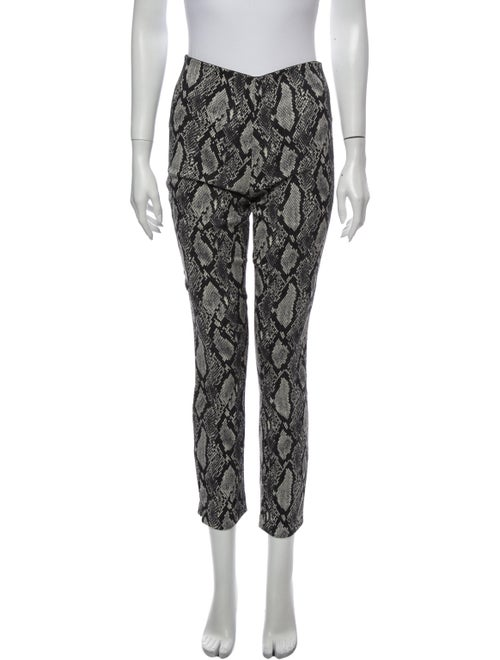 Alice + Olivia Animal Print Skinny Leg Pants Black