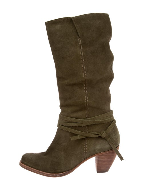 Alice + Olivia Suede Slouch Boots Green