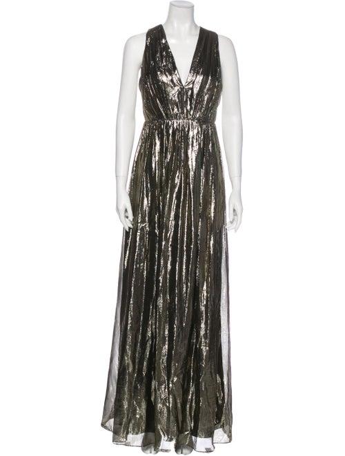 Alice + Olivia Silk Long Dress Gold
