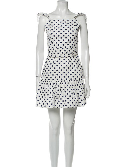 Alice + Olivia Polka Dot Print Mini Dress White