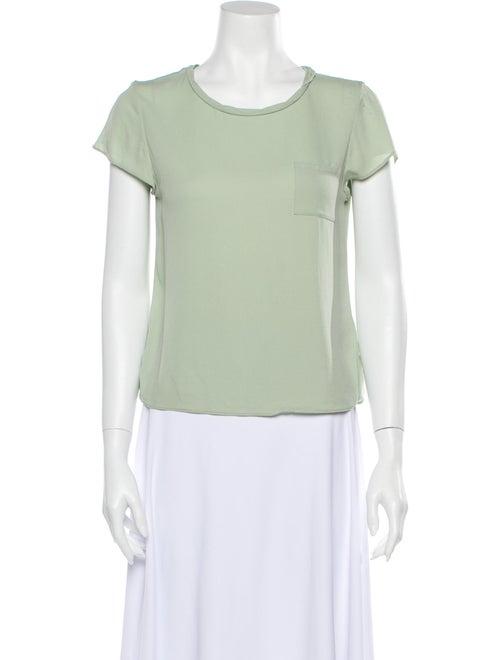 Alice + Olivia Silk Crew Neck T-Shirt Green