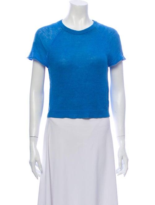 Alice + Olivia Linen Crew Neck T-Shirt Blue - image 1