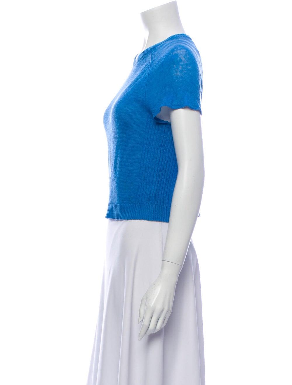 Alice + Olivia Linen Crew Neck T-Shirt Blue - image 2