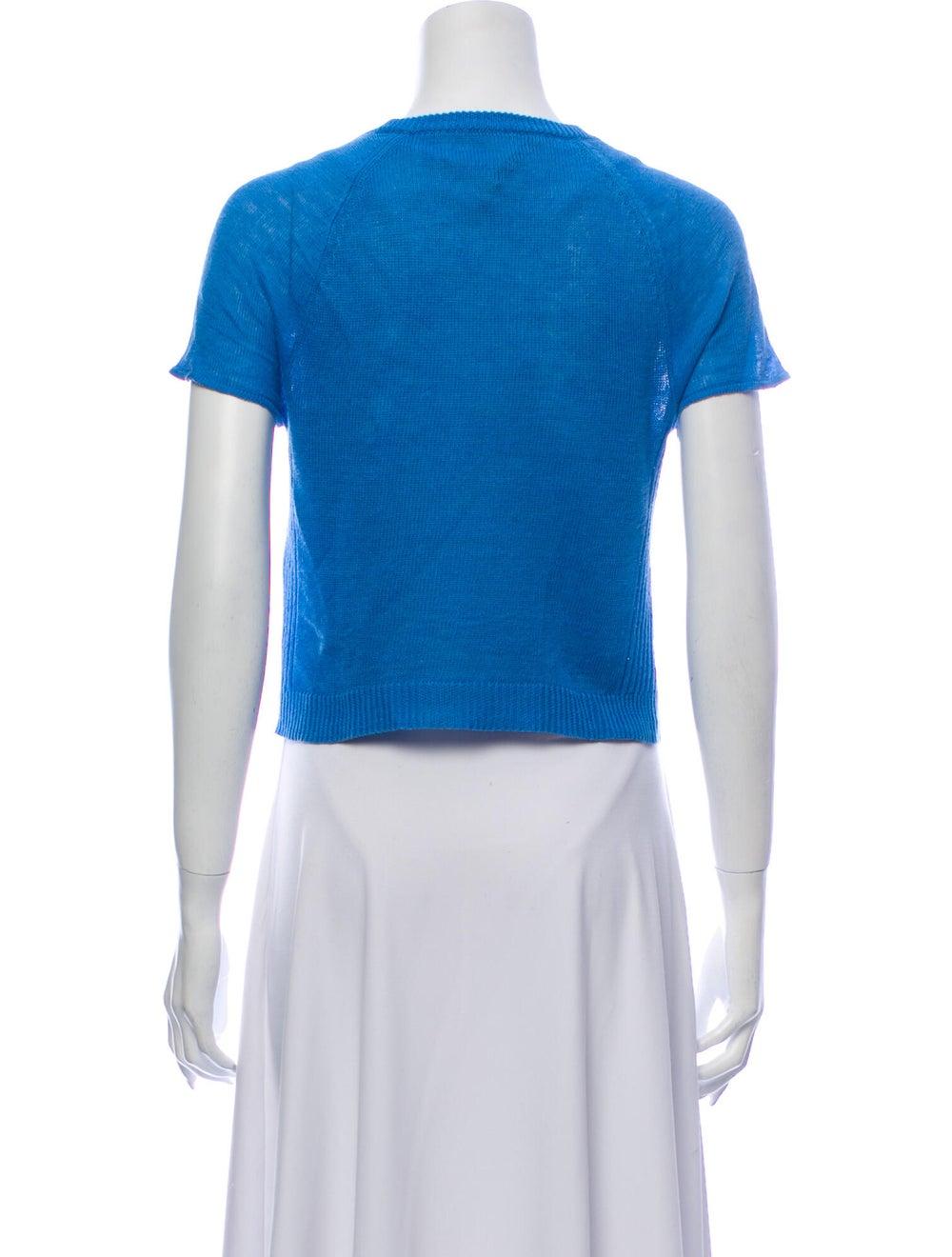 Alice + Olivia Linen Crew Neck T-Shirt Blue - image 3
