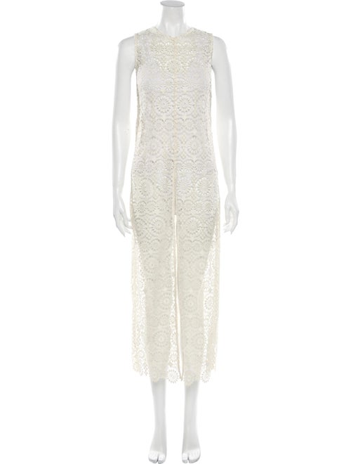 Alice + Olivia Lace Pattern Long Dress White
