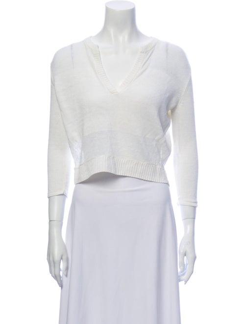 Alice + Olivia Linen V-Neck Sweater White