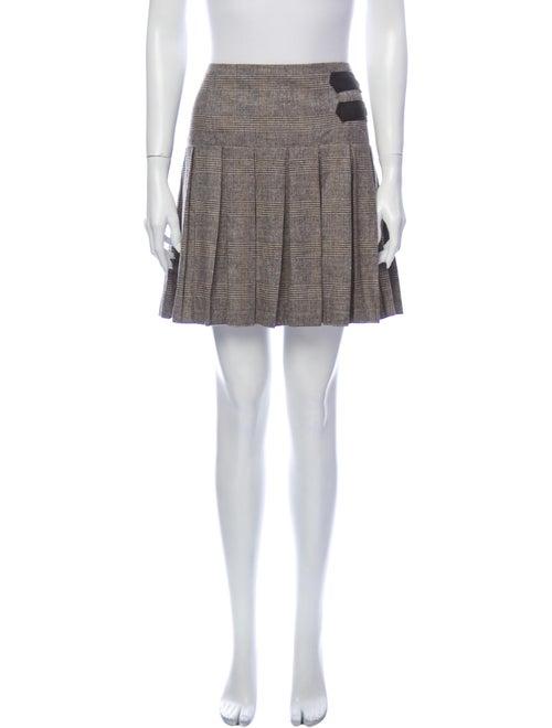 Alice + Olivia Plaid Print Mini Skirt Brown