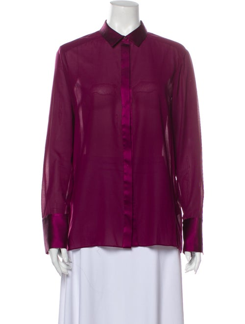 Alice + Olivia Silk Long Sleeve Button-Up Top Purp
