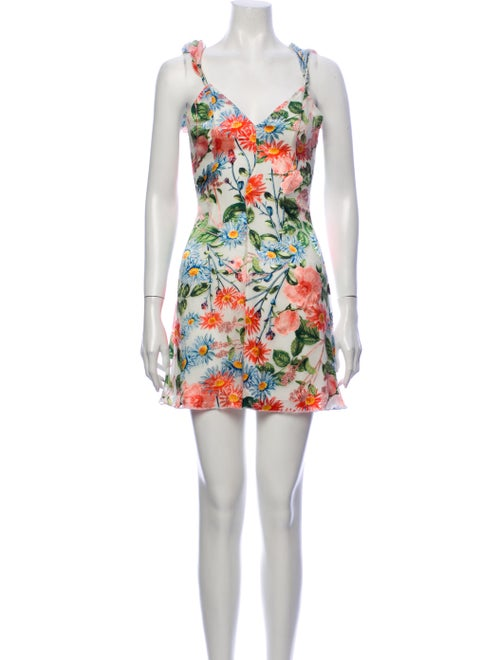 Alice + Olivia Floral Print Mini Dress Grey