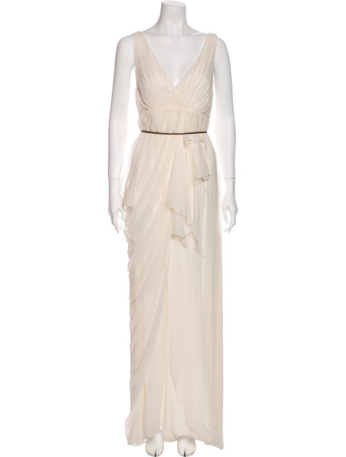 Alice + Olivia Silk Long Dress White